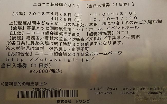 ニコニコ超会議の入場券